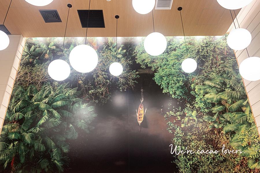 店内にはカカオの原生林の写真をディスプレー