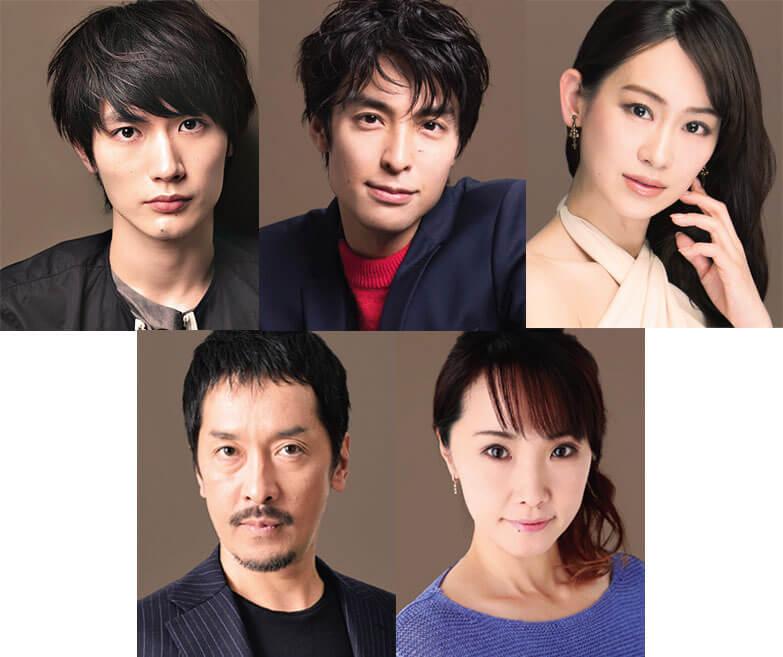 上段左から三浦春馬、海宝直人、愛希れいか、下段左から栗原英雄、濱田めぐみ