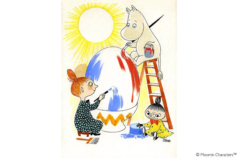 トーベ・ヤンソン 《イースターカード原画》 1950年代 グワッシュ、インク・紙 ムーミンキャラクターズ社蔵