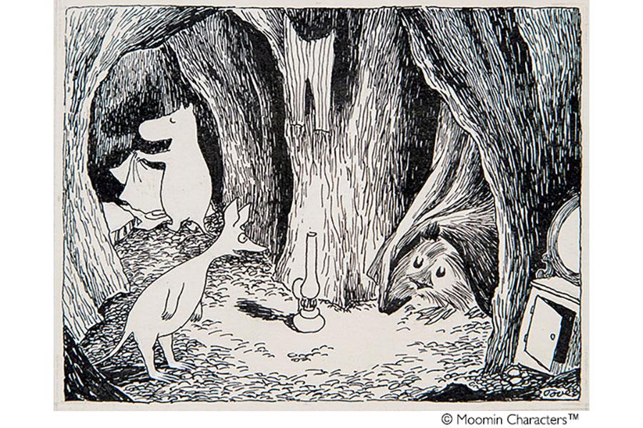 トーベ・ヤンソン 《「ムーミン谷の彗星」挿絵》 1946年、1968年(改作) インク・紙 ムーミン美術館蔵