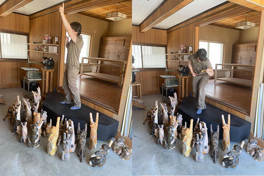 SNSで話題になった「ライブハウスごっこができる装置」。木彫りのねこの観客と熱狂する彫刻家の花房さくらさん