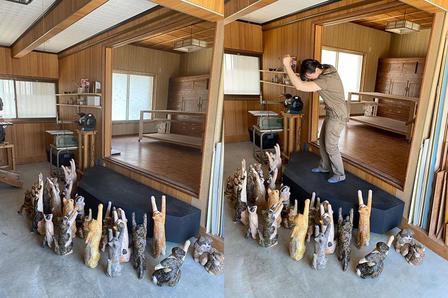「にゃんコール」する(?)猫たちは現在、名古屋で展示中の作品の一部