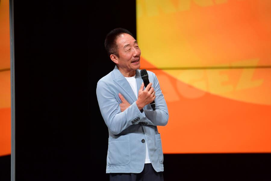 「なんばグランド花月」が観客を入れて営業再開するにあたり、挨拶した中田カウス(6月19日・NGK)