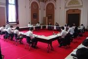 大阪府庁でおこなわれた「大阪府新型コロナウイルス対策本部専門家会議」(6月12日・大阪府庁)