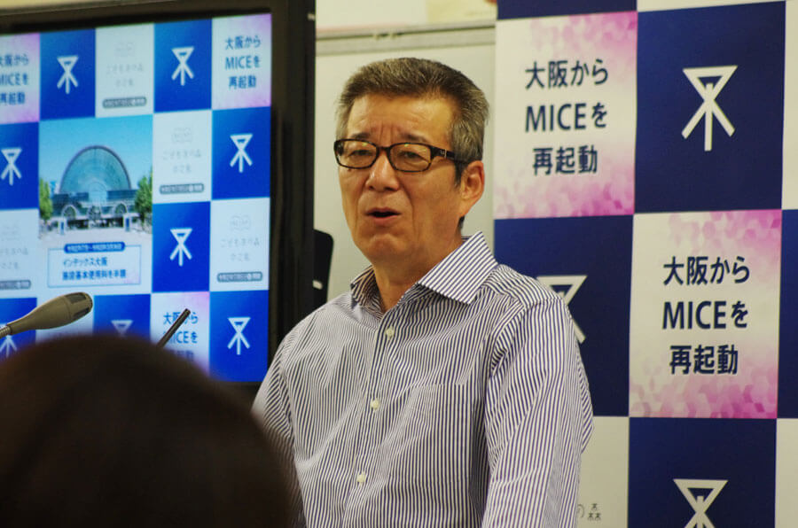 支払いが遅れていることに対して「遅い!」と自戒する松井一郎市長(6月18日・大阪市役所)