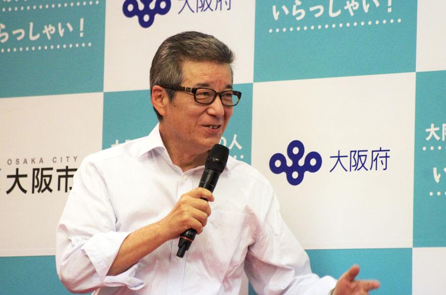 「大阪を愛して観光魅力を高めてきた事業者や飲食・土産店などが事業継続できるようにしたい」とキャンペーンに期待する松井市長(6月16日・大阪市)