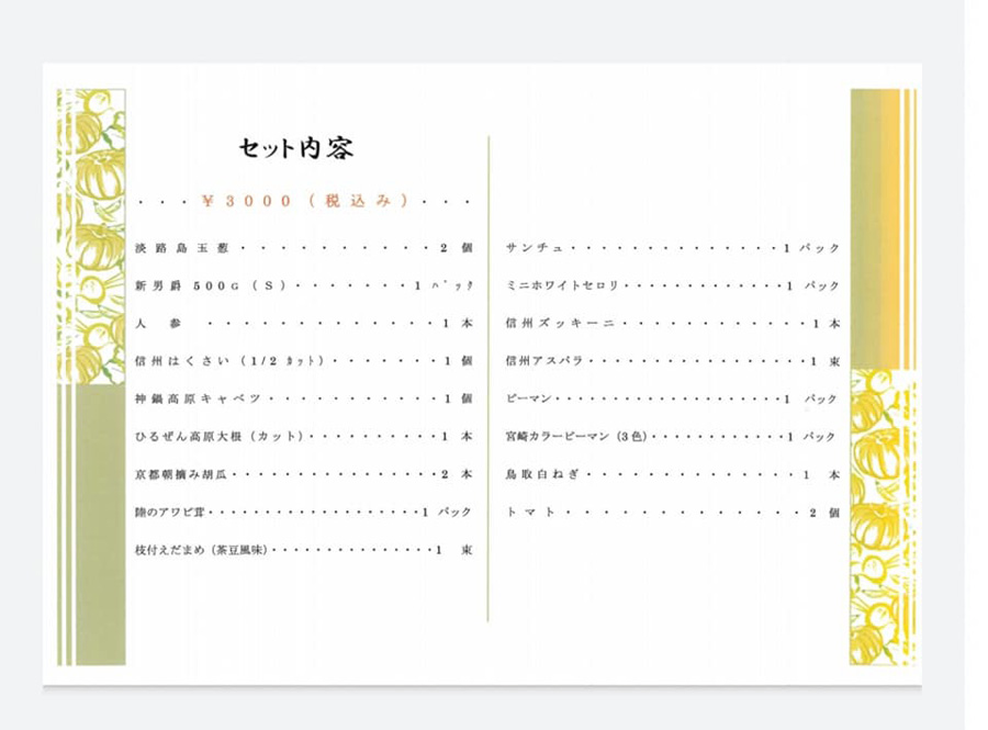 6月20日の野菜セットの内容(提供:丸安青果)