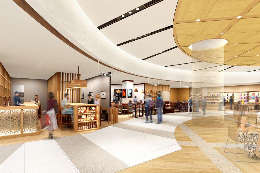 飲食ゾーンには、食事や仕事、休憩にも利用できるスペースを中心に設置(イメージ)