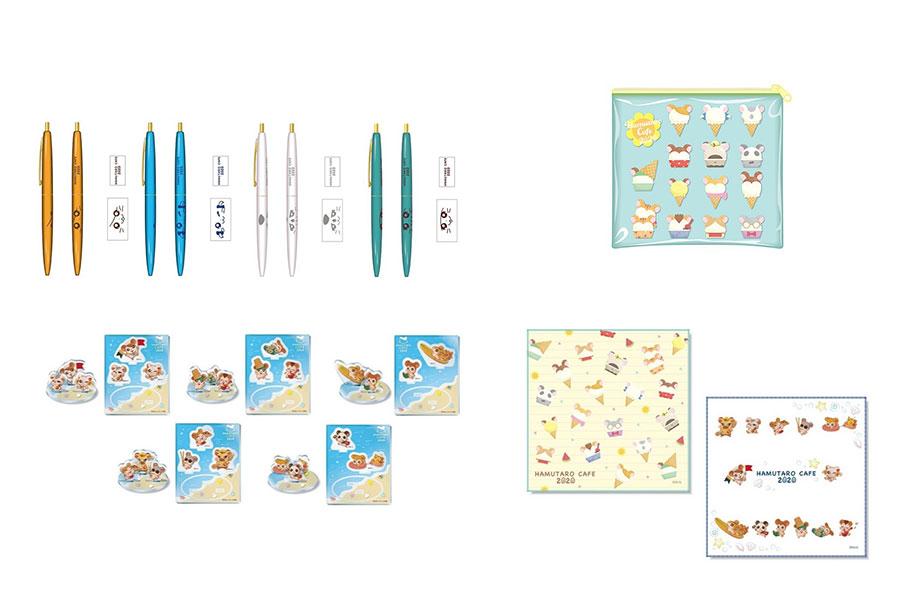 (左上から時計回りに)「BICボールペン」(各500円)、「ビニールポーチ」(1300円)、「マイクロファイバータオル」(各700円)、「アクリルスタンド」(各900円)