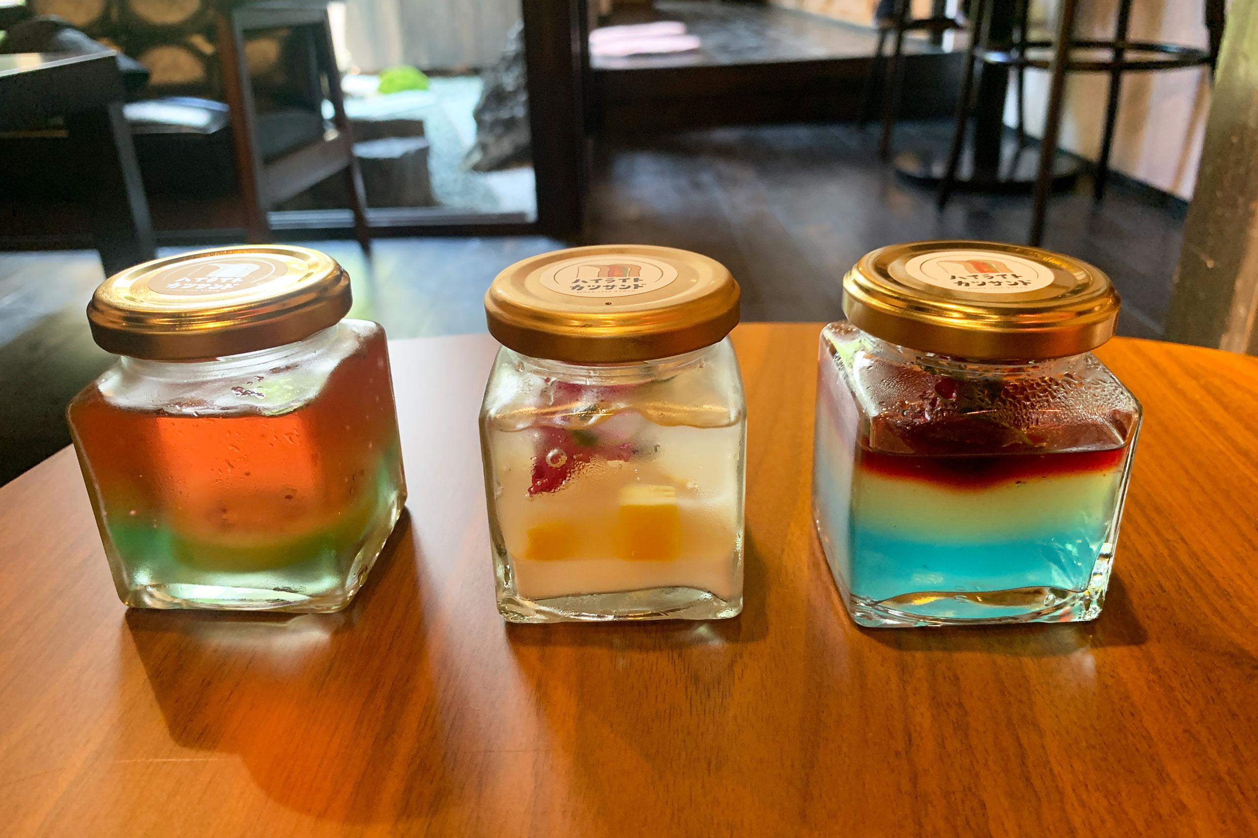 季節のゼリー450円。現在はスイカ、トロピカル、レモン&木イチゴの3種類あり