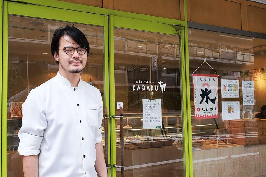 オーナーシェフの岩崎能久さん。「パティスリーKARAKU」、チーズケーキ専門店「チーズケーキ ロックス」(奈良市)、父から譲り受けた「ボンシック」(奈良県生駒郡)、台湾スイーツが楽しめる「猿沢豆花」(奈良市)の4店舗を経営