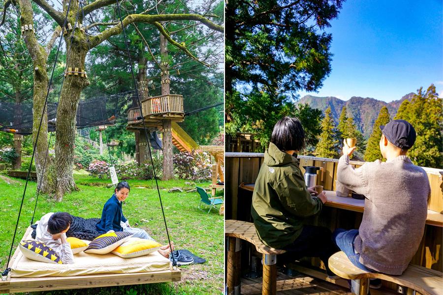 木からぶら下がるベッドや、深緑の山々を眺めながらのんびり食事ができるピクニックエリア