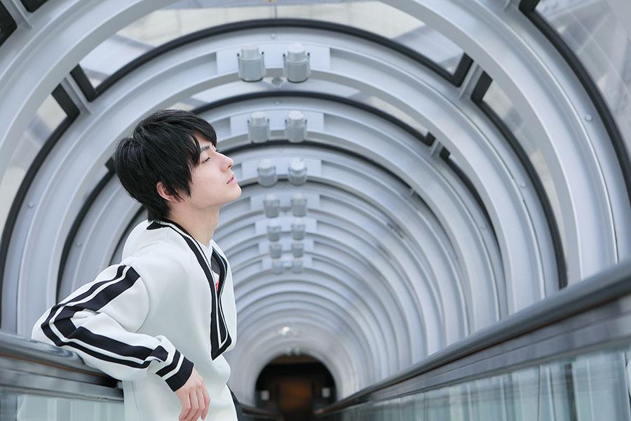梅田スカイビルの空中展望台で。大阪は仕事でしか来たことがなく、こちらも初めて訪れたそう