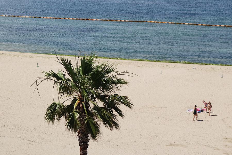 ビーチで日光浴を楽しむ女子たちの姿も