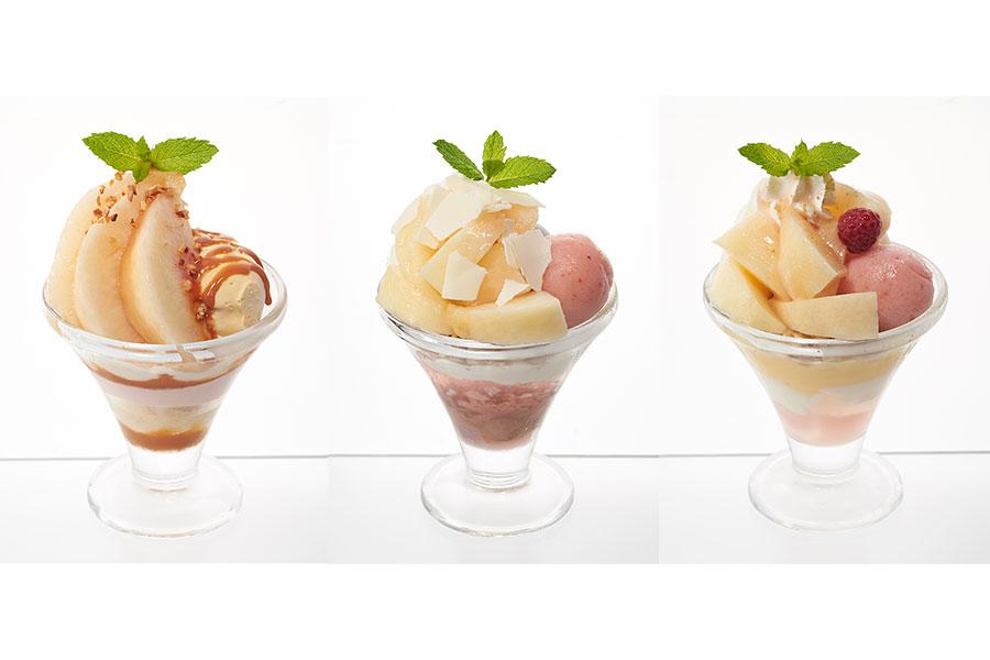 左から、桃のキャラメルミニパルフェ、桃のチョコミニパルフェ、桃のヨーグルトパルフェ(各530円・税別)