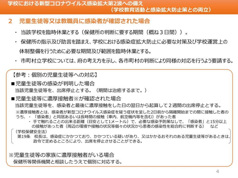 大阪府配布資料より「学校における新型コロナウイルス感染拡大第2波への備え(学校教育活動と感染拡大防止策との両立)」