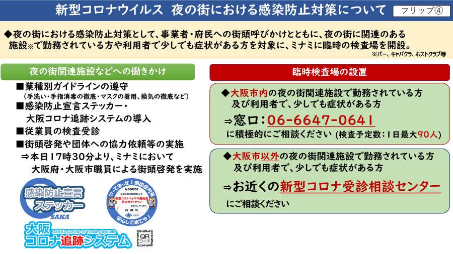 大阪府配布資料より「新型コロナウイルス 夜の街における感染防止対策について」