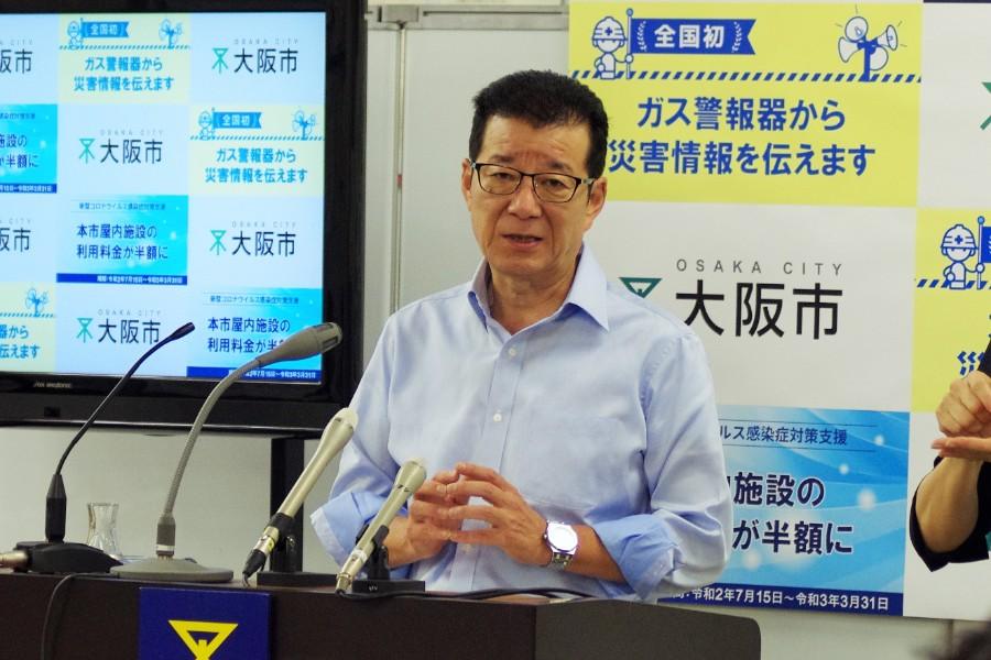 定例会見をおこなった大阪市の松井一郎市長(7月9日・大阪市役所)