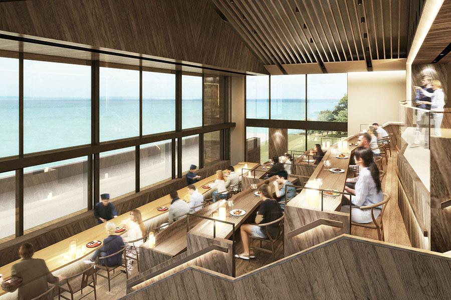 青の舎では播磨灘を眺めながら食事を楽しめる