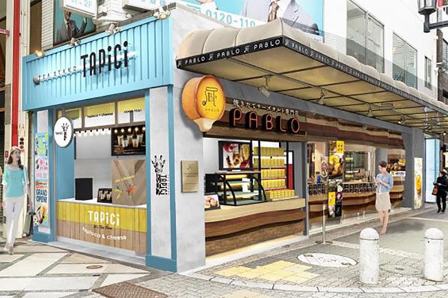 心斎橋筋商店街では食べ歩き需要が高いことから、タピオカチーズティー専門店「TAPiCi TEA STAND」を併設してリニューアル