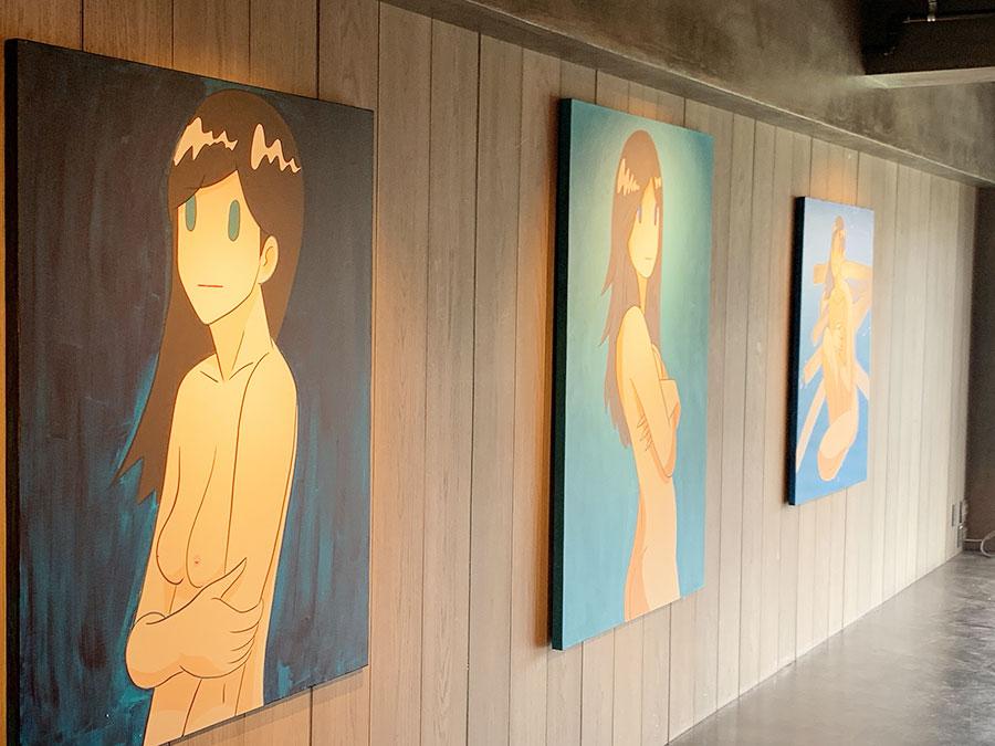 ヌード画も展示。「いかにもなエロじゃなく、奥ゆかしさが必要」と、AMANO氏