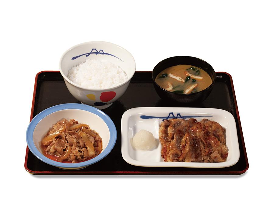 「牛皿+カルビ焼肉セット」790円はボリューム満点! ぜひご飯の大盛無料サービス(〜9月1日)を