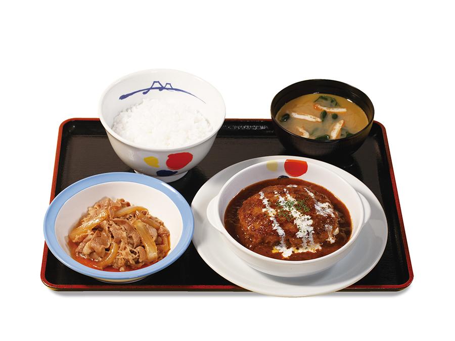 「牛皿+ブラウンソースハンバーグセット」730円