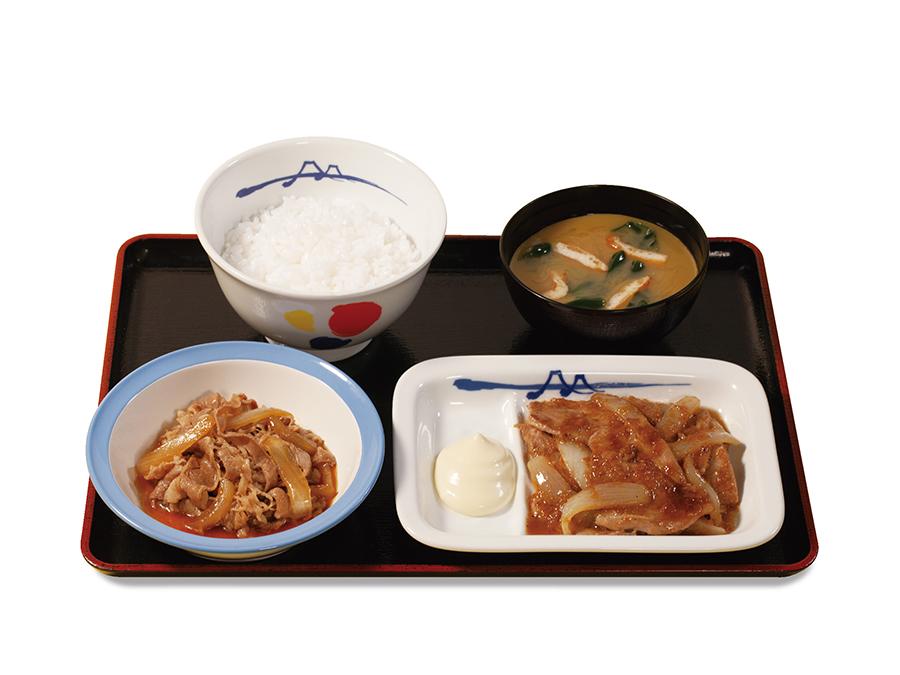 「牛皿+豚生姜焼セット」790円