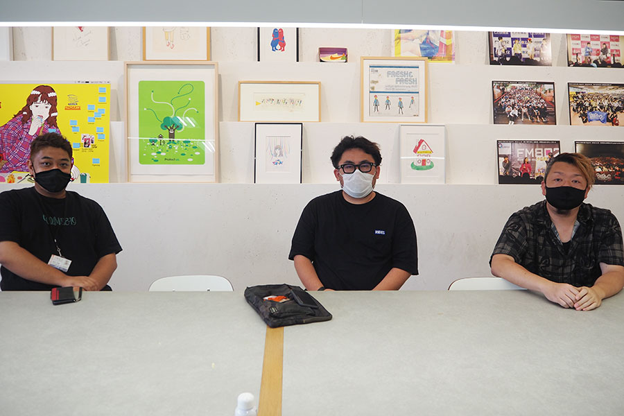 (左から)FM802・今江さん、サウンドクリエーター・安福さん、GREENS・井上さん