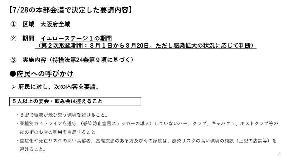 大阪府配布資料より「7/28の本部会議で決定した要請内容」の対象エリア