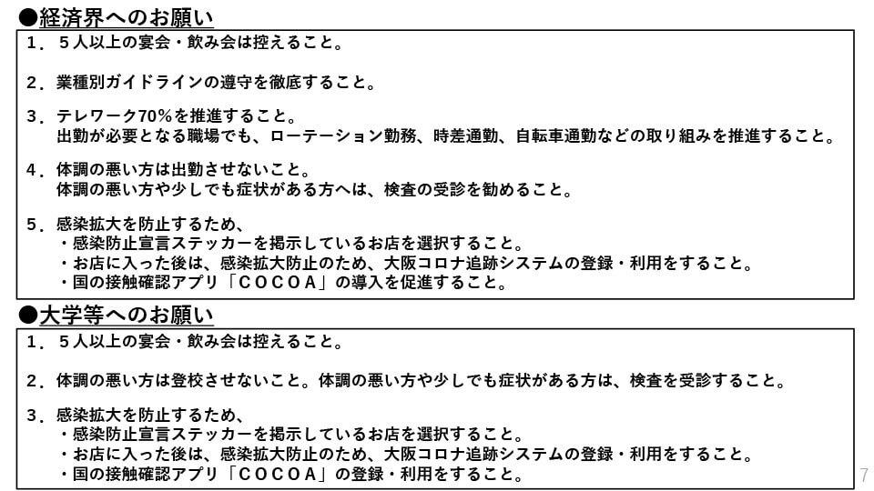 大阪府配布資料より「経済界へのお願い」