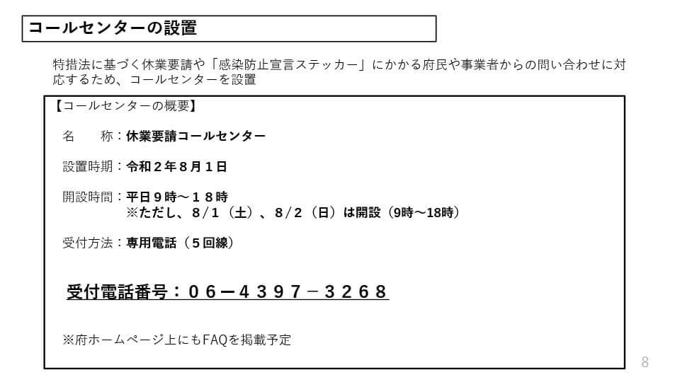 大阪府配布資料より「コールセンターの設置」