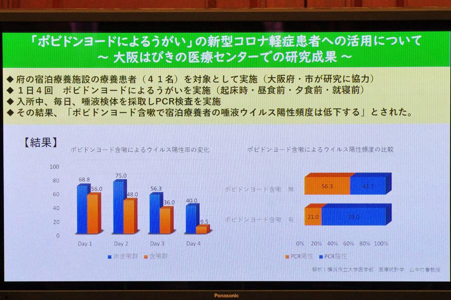 会見でのフリップより「ポビドンヨードによるうがいの研究成果」(8月4日・大阪市)