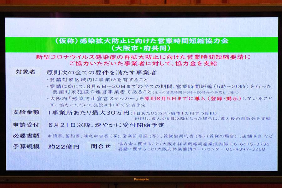 合同会見でのフリップより、休業および時短要請に対する補償の説明(8月4日・大阪市)