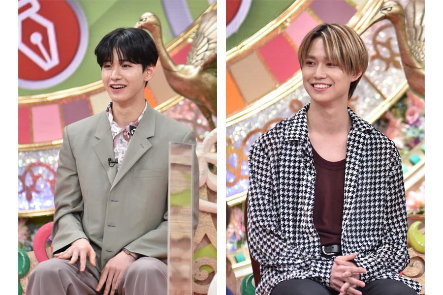 8月27日放送の『プレバト!!』に登場するJO1の佐藤景瑚(左)、白岩瑠姫(写真提供:MBS)