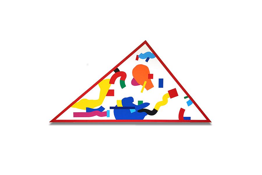 溝渕珠能《三角形》2020年 木パネル、アクリル