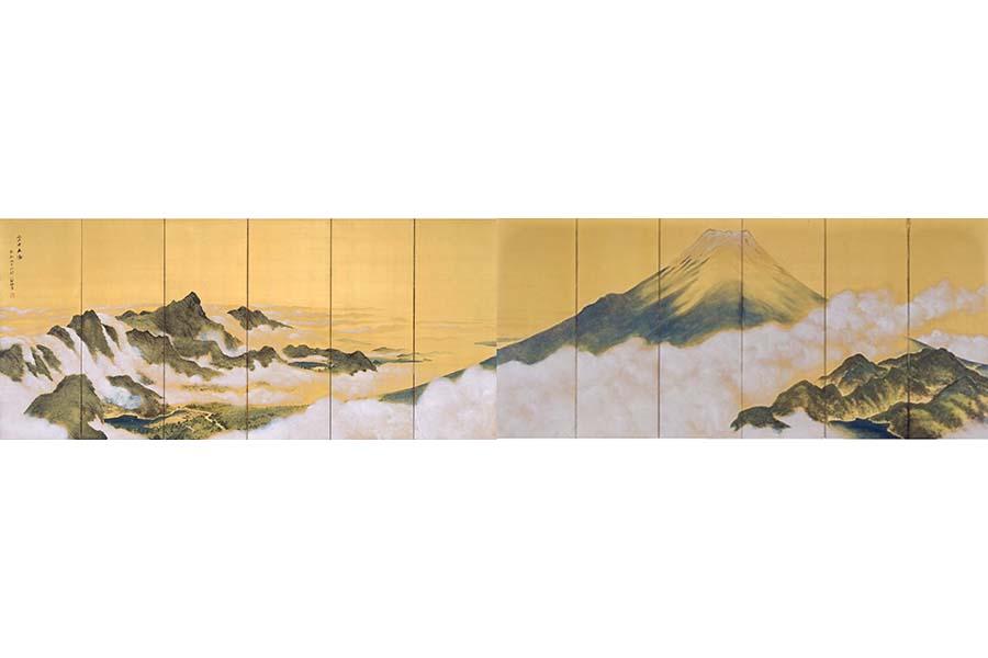 《富士五湖》 絹本着色(六曲一双屏風) 1936(昭和11)年 姫路市立美術館蔵