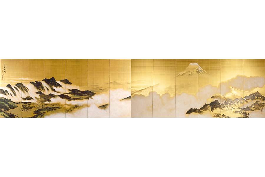 《富士五湖図》 絹本着色(六曲一双屏風) 1947(昭和22)年 姫路市立美術館蔵