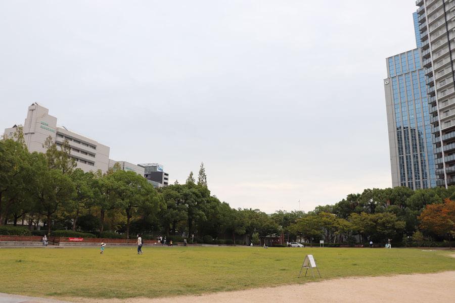 現在の東遊園地。以前は地面がむき出しだったが、芝生化したことで子どもが遊んだり、座って休憩したりする人が増えた(9月24日・東遊園地)