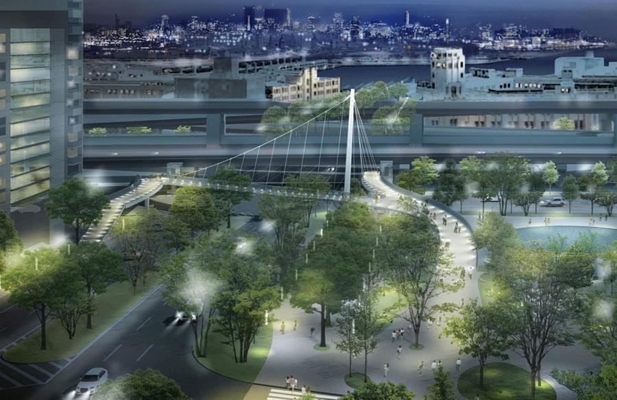 歩道橋の夜間景観予想図(エイト日本技術開発・イー・エー・ユー共同体作 コンペ最優秀作品の報告書からの引用)