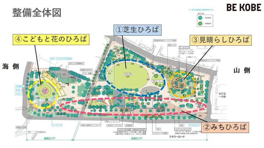 東遊園地の整備予定図(神戸市提供の図に「山側」「海側」を挿入)