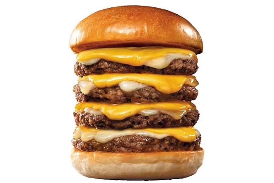 『ロッテリア29肉(ニク)の日』企画に登場する『4−dan絶品チーズバーガー』