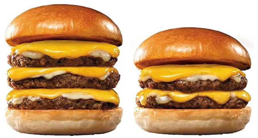 『ロッテリア29肉(ニク)の日』企画に登場する『トリプル絶品チーズバーガー』と『ダブル絶品チーズバーガー』