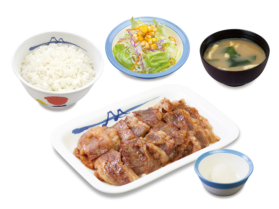 松屋「カルビ焼肉定食」660円、肉の量が2倍のW定食は960円