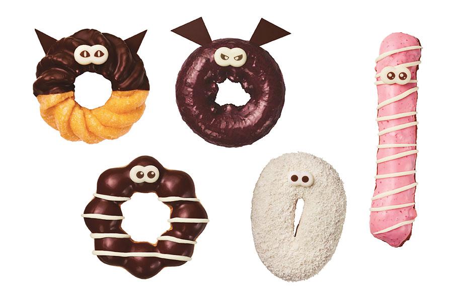 (左上から時計回りに)「黒ねこフレンチ」、「ばたばたコウモリ」、「くるくるピンクミイラ」、「びっくりゴースト」、「くるくるチョコミイラ」