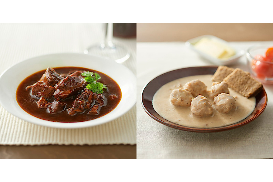 (左から)「世界の煮込み 牛肉の赤ワイン煮」「世界の煮込み ミートボールのクリーム煮」(各390円)