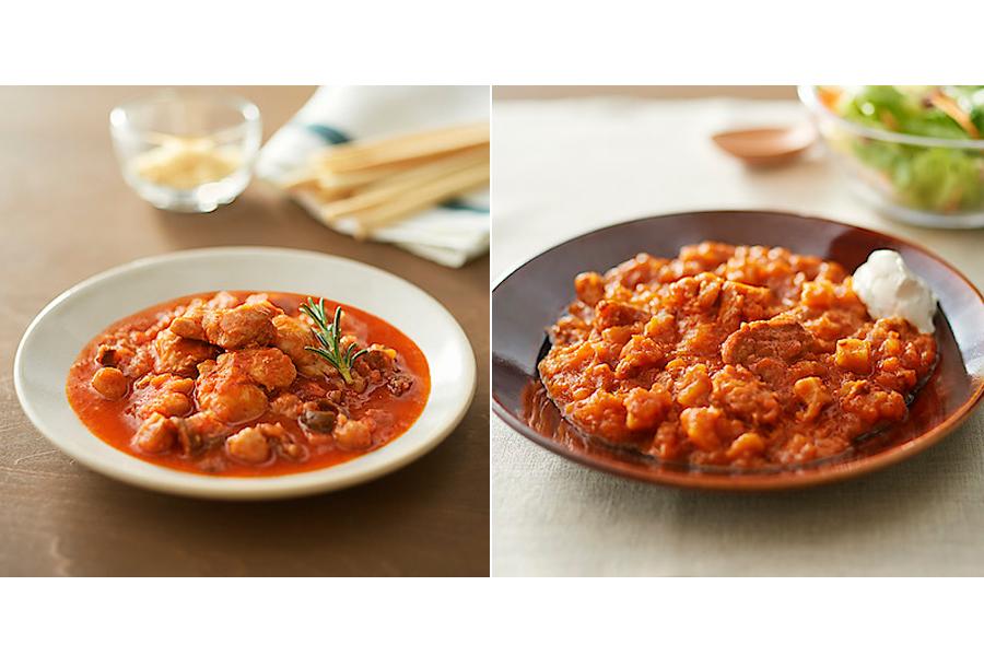 左から「世界の煮込み チキンのトマト煮」「世界の煮込み 仔羊の煮込み」(各390円)