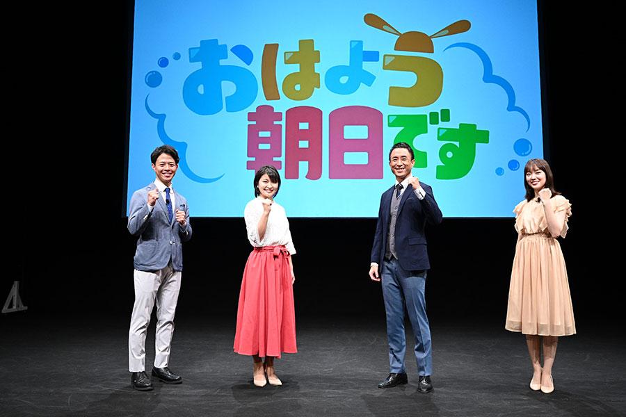 左から小西陸斗アナ、川添佳穂アナ、岩本計介アナ、澤田有也佳アナ (C)ABCテレビ
