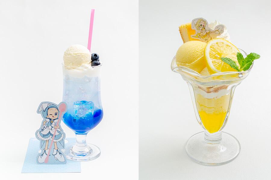 「あいこのブルーベリーフロート」(999円)(左)、「ももこのレモンチーズケーキパフェ」(1399円)