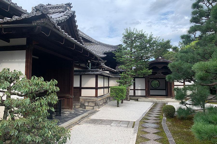 門をくぐるとまず目に飛び込んでくるのが、白砂と苔に青松が美しい唐門前庭